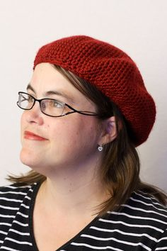 Crocheted Red Beret Slouchy Hat or French Beret by TamaraSlack, $29.00