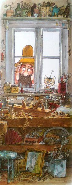 Pettersson und Findus Eine Geburtstagstorte für die Katze 1984 Art And Illustration, People Illustration, Botanical Illustration, Cute Drawings, Cute Art, Childrens Books, Illustrators, Fantasy Art, Artsy