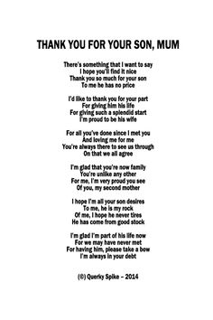 Wedding Day Mother In Law Poem DIY Printable Future Wedding And Weddings
