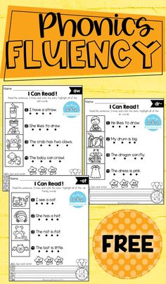 This phonics fluency read and write is the perfect way for students to practice phonics, reading fluency, and comprehension. These sets are ideal for beginning readers in kindergarten and in first grade to build confidence in reading. Phonics Reading, Teaching Phonics, Phonics Activities, Teaching Reading, Reading Comprehension, Free Phonics Worksheets, Reading Intervention Activities, Guided Reading Activities, Cutting Activities