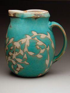 Julie Covington,Ceramics, Pottery at MudFire Gallery -- wax resist? Ceramic Pitcher, Ceramic Clay, Ceramic Pottery, Pottery Art, Earthenware, Stoneware, Cerámica Ideas, Clay Art, Tea Pots