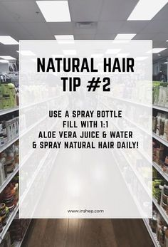 Natural Hair Tip #2! Also try a leave in or a moisturizing detangler instead. Water sprayed on the hair daily can actually aid in the hair drying. I don't know why a lot of naturals live by wetting the hair. I run from water unless I'm washing my hair. Water shrinks the hair.