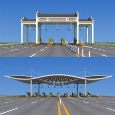Buy Highway toll station by huangxingcheng on 2010 production File has many Have adjusted the lights and materials, can be rendere. House Main Gates Design, Door Gate Design, Entrance Design, Entrance Gates, Facade Design, Roof Design, Architecture Presentation Board, Concept Architecture, Architecture Design