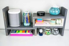 This desktop organizer can fit a lot into a small space!