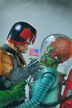 Dredd vs Mars Attacks cover, Greg Staples on ArtStation at https://www.artstation.com/artwork/AXa6N