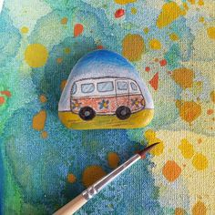 Hippie style vagon - hand painted sea stone - lovely Boho Wedding favor - Peace…