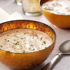 Golden Gouda Mushroom Soup Recipe -Here's a fantastic first course for guests. Rich, creamy and cheesy, it will warm you from the inside out and stir your appetite for what's to come. —Charlotte Rogers, Virginia Beach, Virginia