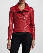 leather-bagatelle leather ponte asymmetric jacket red