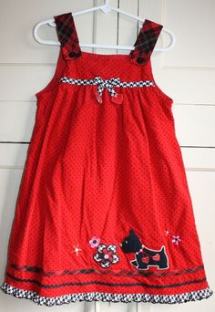 Toddler Girls 5 T Red Corduroy Dress With Scotty Dog ! Polka Dot Red & Black  #unknown #DressyHoliday