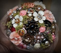brooch bouquet for my sister's wedding...SO fun to make!