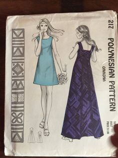 """Pattern:  Polynesian Pattern 217  Size:  12, bust 34"""", waist 25.5, hip 36""""  Condition:  factory folded and uncut.  Includes instructions.  Envelope is in good to fair condition with tape along the top.  Description:   """"Onaona"""" A-line Dress with Squared-back Neckline, French Darts, in two Lengths"""