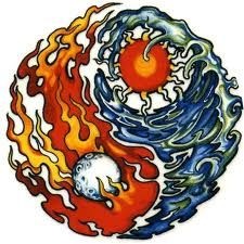 fire and water/ice tattoo