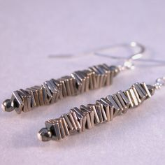 Pyrite squares column sterling silver #handmade #earrings by @cserpentDesigns