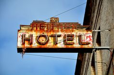 Rusty hotel marquee (if the interior space is a loft with the wall space)