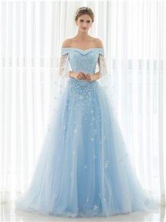 Blue Fl Off The Shoulder Long Tulle Wedding Dress