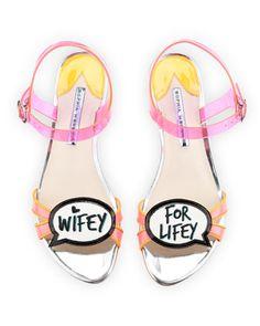 Ellen Wifey For Lifey Speech Bubble Sandal, Pink/Orange by Sophia Webster at Neiman Marcus.