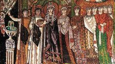 Theodora (wife of Justinian I) - century mosaic from Basilica of San Vitale. We forget that the Roman empire didn't vanish in the century when Britain was abandoned. This mosaic in Ravenna is one of the masterpieces of roman art. Early Christian, Christian Art, Ravenna Italia, Art Et Architecture, Byzantine Architecture, Empire Romain, Early Middle Ages, Middle School, Byzantine Art