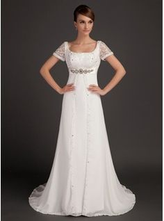 Wedding Dresses - $234.99 - A-Line/Princess Scoop Neck Court Train Chiffon Satin Wedding Dress With Lace Beadwork  http://www.dressfirst.com/A-Line-Princess-Scoop-Neck-Court-Train-Chiffon-Satin-Wedding-Dress-With-Lace-Beadwork-002015553-g15553