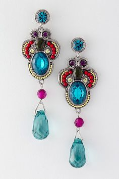 Blue Collar Necklace w/Chandelier Earrings