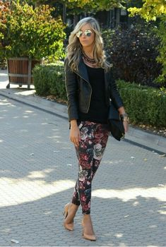 Leather jacket. Black shirt. Floral pants. Nude pumps.