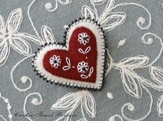 Valentine - Beaded Felt Heart Brooch Lapel Pin w/ Embroidered Flowers - Handmade - Dark Red Cranberry - Creamy White - Black Beads.