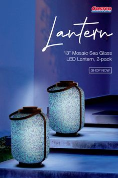 Add a glowing ambiance to your indoor or outdoor décor with this set of two 13-inch Blue Mosaic Sea Glass LED Lanterns. Illuminated by a cool white LED light, these lanterns are battery operated, with a 6 hour on/18 hour off timer. Shop now at Costco.com. Lanterns, White Led Lights, Glass, Led, Sea Glass, Led Lantern, Outdoor Living Patio, Mosaic, Blue Mosaic