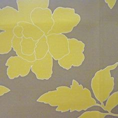 New Peony Canary Taupe Large Floral Indoor/Outdoor Fabric by DwellStudio for Robert Allen