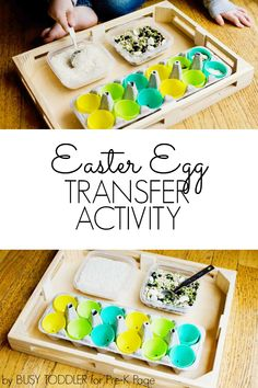 Easter Transfer Activity Scoop and pour materials into plastic eggs in this fun fine-motor Easter activity for preschool, pre-k, and kindergarten. Easter Activities For Preschool, Montessori Activities, Spring Activities, Kindergarten Activities, Preschool Eggs, Motor Activities, Toddler Activities, Lesson Plans For Toddlers, Preschool Lesson Plans