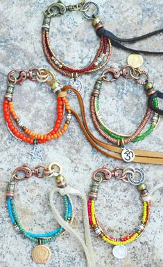 Bracelet | Friendship | Leather | Glass | Mixed-Media | XO Gallery | XO Gallery Lots of boho looks
