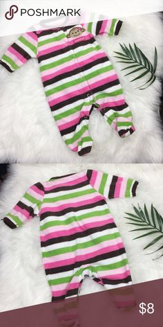 Fleece Monkey Pajamas Rugby stripes in brown, white, pink and green. Footed. Great condition. Carter's Pajamas
