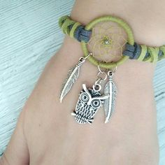 Owl Bracelet, Lace Bracelet, Beaded Bracelet Patterns, Jewelry Trends, Diy Jewelry, Jewelry Design, Jewelry Making, Jewlery, Dream Catcher Bracelet