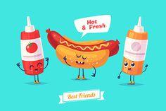 Funny ketchup mustard and hotdog by Krol on Creative Market