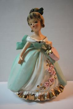 Vintage lady figurine planter marked   A 110,   6 3/4 tall
