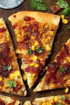 Bacon corn Carmelites onion pizza