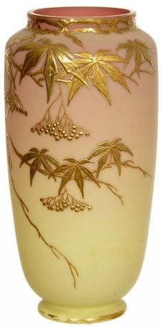 "9 1/2"" MARKED ""WEBB QUEENS BURMESE"" VASE"