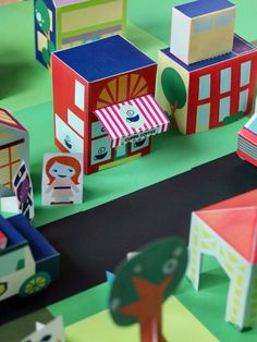 Free Printable downloads - paper houses, people, and cars to build your own neighborhood! via SmallforBig.com