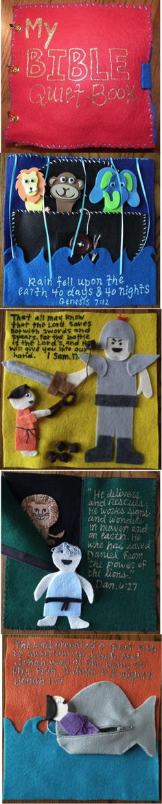 Bible quiet book pages. I like how each page has scripture to go with the story.