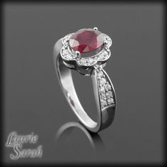 Ruby Engagement Ring with Diamond Flower by LaurieSarahDesigns, $2862.00