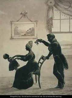 Silhouette of a young family - Jarvis F. Hanks, 1831.