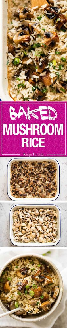 Baked Mushroom Rice - buttery, garlicky, golden brown juicy mushrooms and fluffy rice, all baked in one pan! www.recipetineats.com