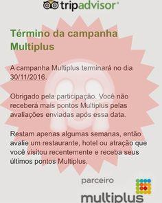Acabou a parceria do TripAdvisor com a Multiplus!!! Não será mais possível receber milhas pelas avaliações e fotos postadas no site. #milhas #multiplus #tam #latam #tripadvisor #viajante #viagem #parceria #éofim #gameover