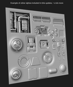 ArtStation - 350 Hard surface sci-fi Alpha/Height VOL 2 Jonas Ronnegard Futuristic Interior, Futuristic Art, Polygon Modeling, Hard Surface Modeling, Game Textures, Zbrush Tutorial, Sci Fi Environment, Blender Tutorial, Spaceship Concept