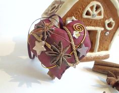 Décoration de Noël d'Alsace : coeur avec cristal swarovski, bâton de cannelle et badiane pour sapin ou déco de table : Accessoires de maison par linseyy