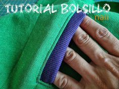 de naii: Tutorial bolsillo, pantalón o sudadera Sewing Hacks, Sewing Tutorials, Sewing Crafts, Sewing Projects, Techniques Couture, Sewing Techniques, How To Make Clothes, Diy Clothes, Textile Manipulation