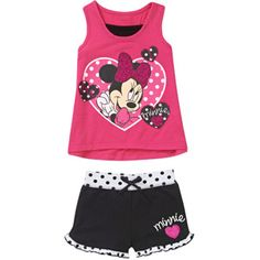Authentic Disney Toddler Girls Short Set Minnie Mouse Just Lovely