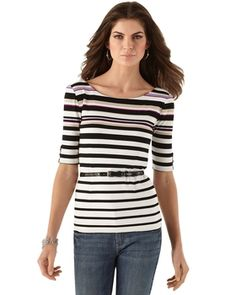 Womens Mixed-Stripe Top by White House Black Market in Spring 3 2013 from White House | Black Market on shop.CatalogSpree.com, my personal digital mall.