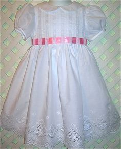 Girls Heirloom Dress: Swiss Eyelet Summer White with Silk Ribbon Sash Sizes 1 to 5