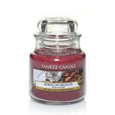 #MoroccanArganOil - Small Jar Candle - Yankee Candle.  With hints of patchouli and sandalwood, the exotic aroma of rare argan oil creates a uniquely inviting ambiance.