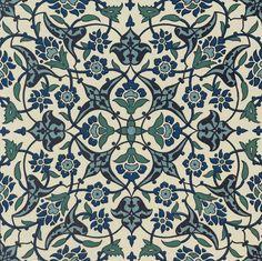 Indigo Blue Vintage flora design Woven Throw Pillo