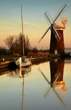 Horsey Drainage Mill in Norfolk. Built in 1912 to replace an earlier Mill by Dan England, the millwright from Ludham, it worked until 1943 when it was struck by lightning and the sails badly damaged. The mill was acquired by the National Trust just after World War Two and restored in the 1960s.